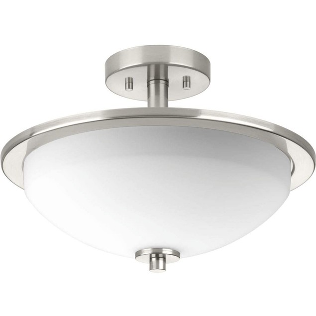 Progress Lighting 1 Light Brushed Nickel LED Semi Flushmount Etched Glass