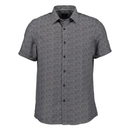 Rosso Milano Modern Fit Short Sleeve Black Marble Dot Dress Shirt