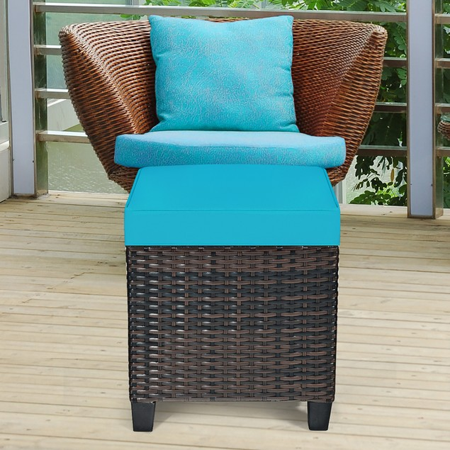 Costway 2PCS Patio Rattan Ottoman Cushioned Seat Foot Rest Coffee Table Tur