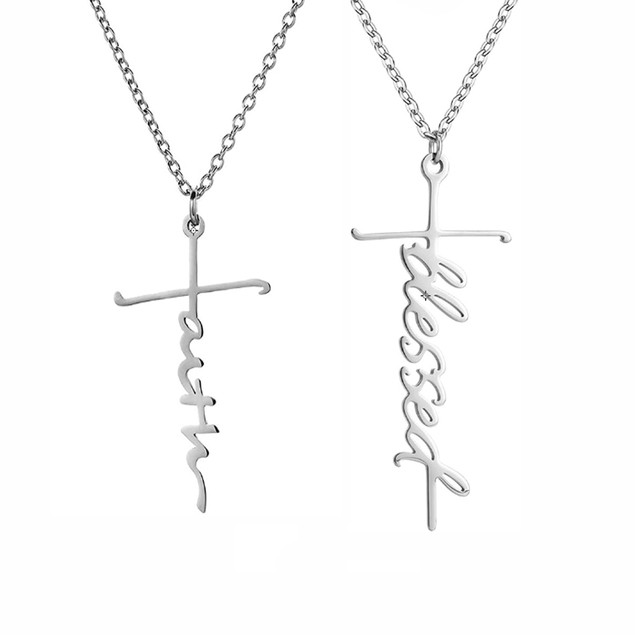 Faith or Blessed Cross Pendant Necklace