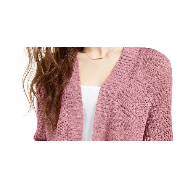 Ultra Flirt Juniors' Mixed-Knit Chenille Cardigan Pink Size X-Small