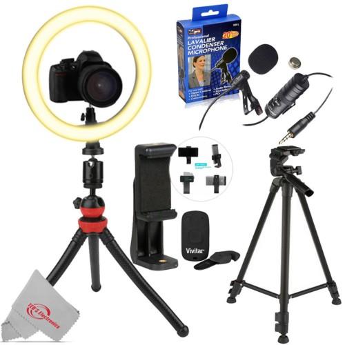 "Vivitar Round LED Light 10"" + Selfie Wireless Shutter Release + Phone Holder + 60"" Tripod + Lavalier Microphone"