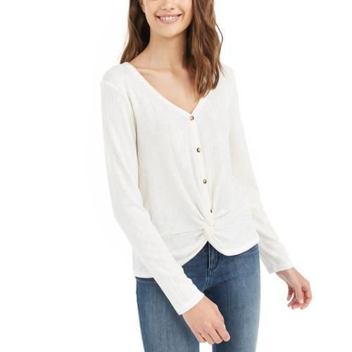 Hippie Rose Juniors Women's Twist-Front Button-Up Top White Size Medium