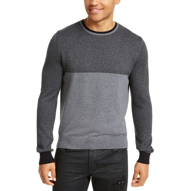 Guess Men's Colorblocked Jacquard Sweater Charcoal Size XX Large