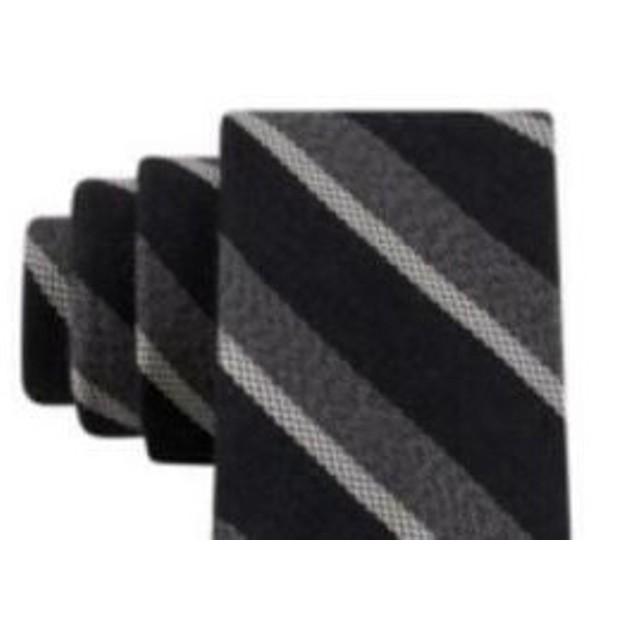 Tommy Hilfiger Men's Slim Textured Stripe Tie Gray Size Regular