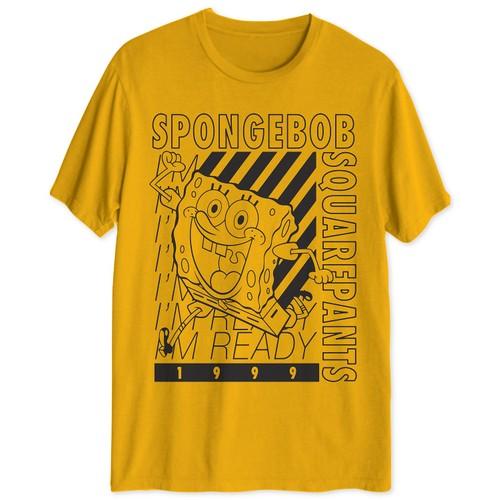 Hybrid Men's Spongebob I'm Ready Graphic T-Shirt Yellow Size XX Large