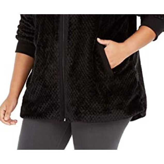 Ideology Women's Quilted Fleece Jacket Black Size Small