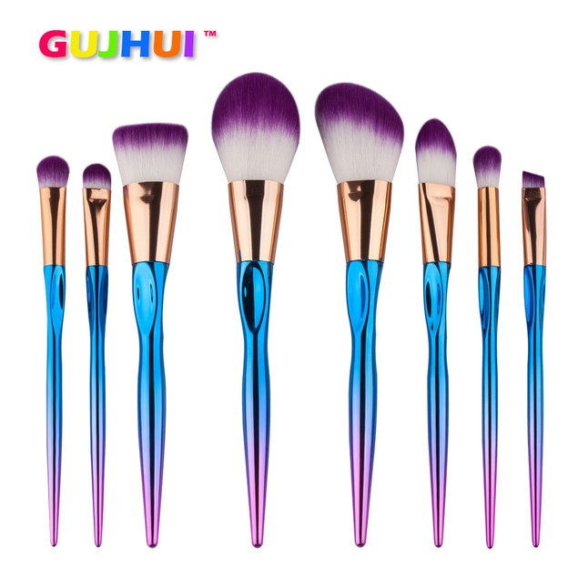 8-Piece Cosmetic Brush Set with Metallic Handles