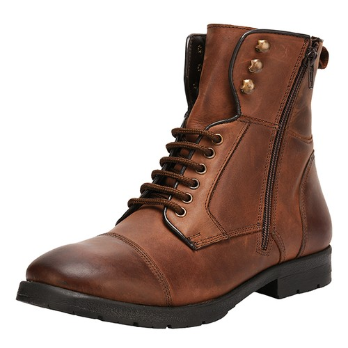 LIBERTYZENO Men's Fashion Ankle Boots Genuine Leather Lace Up Closure Boots-1095
