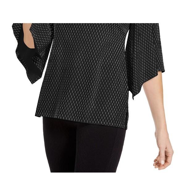 JM Women's Collection Embellished Flared-Sleeve Top Black Size Extra Large