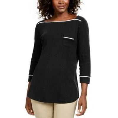Karen Scott Women's Petite Piping-Trim T-Shirt Black Size Petite
