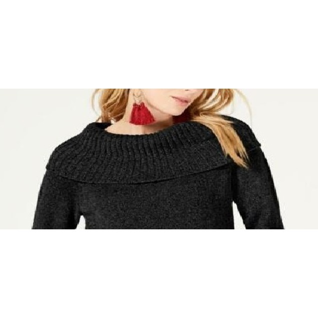 INC International Concepts Women's Chenille Sweater Black Size Extra Large