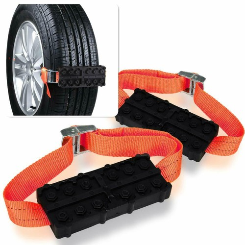 Zone Tech Vehicle Snow Traction Tire Block Belt All Weather Anti Skid Slip