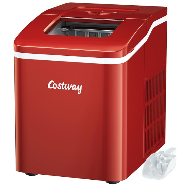 Costway Portable Ice Maker Machine Countertop 26Lbs/24H Self-cleaning w/ Sc