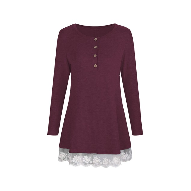 Long Sleeve Button Lace Trim Tunic