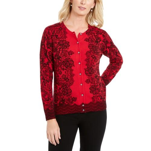 Karen Scott Women's Lace-Print Cardigan Red Size Extra Large