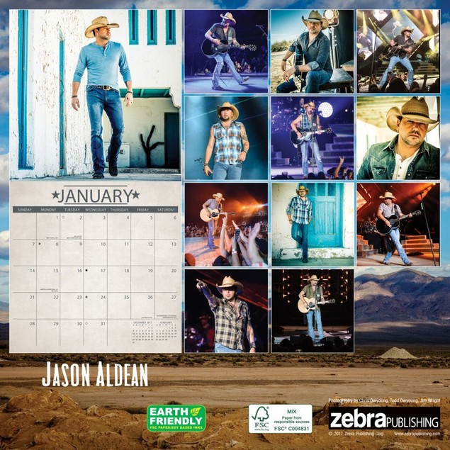 Jason Aldean Wall Calendar, Country Music by Zebra Publishing