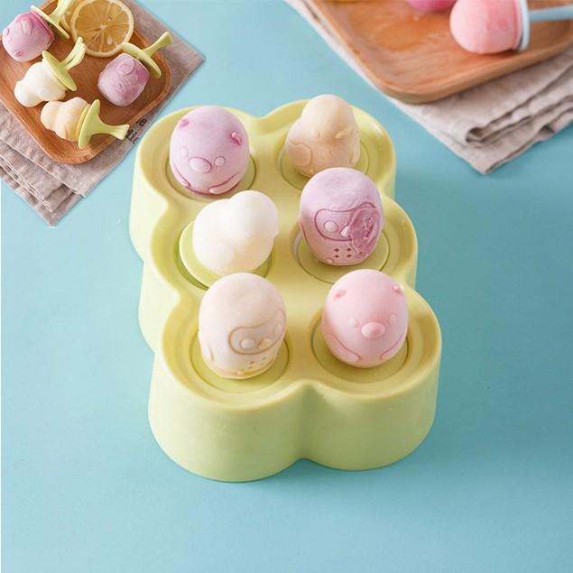 Creative Cartoon Silicone DIY Popsicle Mold Ice Cream Mold Six Grid Popsicle Box Ice Mold