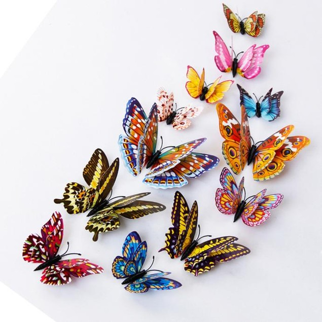 12-Piece 3D Magnetic Butterfly Art