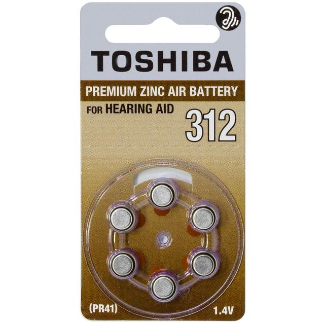 Toshiba Size 312 Zinc Air Hearing Aid Batteries (60 pack)