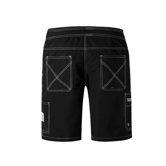 Mens Quick-drying Surf Pants with Pockets Solid Color Shorts Black