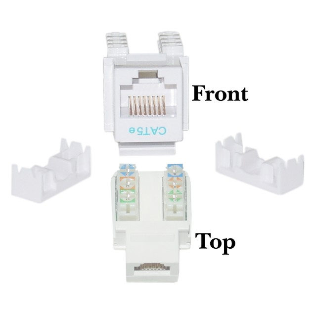 Cat5e Keystone Jack, White, RJ45 Female