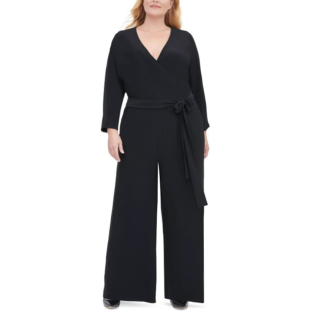 Tommy Hilfiger Women's Plus Size Surplice Wide-Leg Jumpsuit Black Size 18W