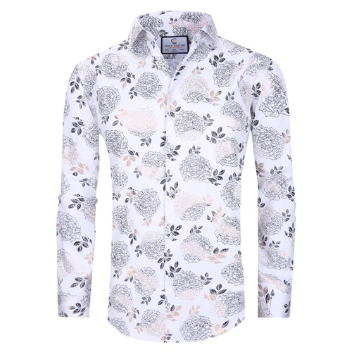 Suslo Couture Men's Floral Fashion Stretch Long Sleeve Button-Down Shirt (S-L)