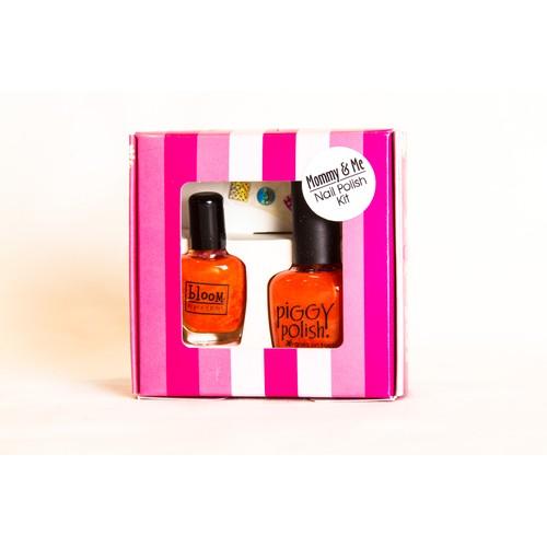 Piggy Polish 2 pk Gift Set, Mommy & Me Kit, Bright Orange