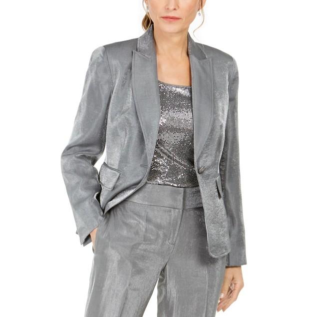 Kasper Women's Metallic Single-Button Blazer Silver Size 6