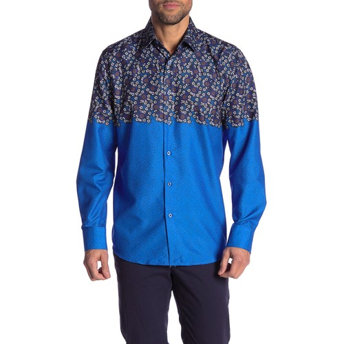 Rosso Milano Modern Fit Long Sleeve Blue Floral Dress Shirt