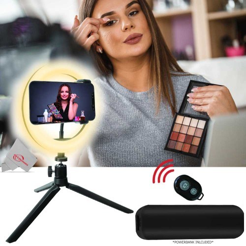 Vivitar 8 Inch LED Ring Ligh for Iphone Smartphone with Tripod Mount Stand, Power Bank and Wireless Remote