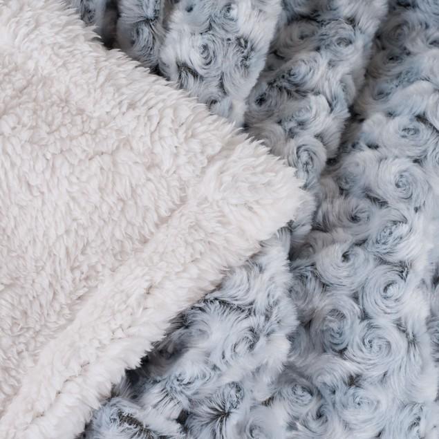 Lavish Home Plush Flower Fleece Sherpa Throw