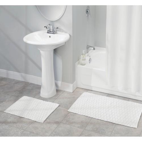 mDesign Cotton Bathroom Spa Mat Rugs/Runner, Diamond Design, Set of 3