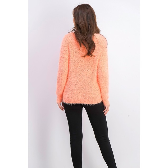 Freshman Juniors Fuzzy V-Neck Sweater Orange Size Medium