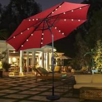 Costway 10ft Patio Solar Umbrella LED Patio Market Steel Tilt W/ Crank (Bur