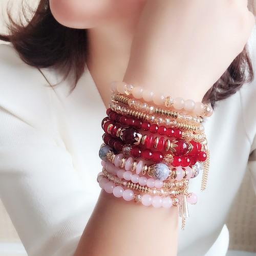 Female Bohemian Original Multi-Layer Ring Beaded Crystal Bracelet