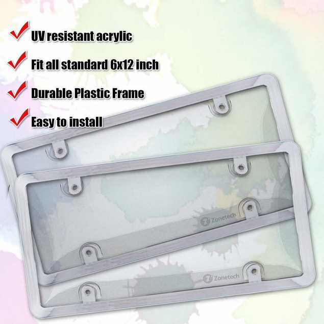 Zone Tech 2x Clear Tag License Plate Shield Cover and Frame Truck Car