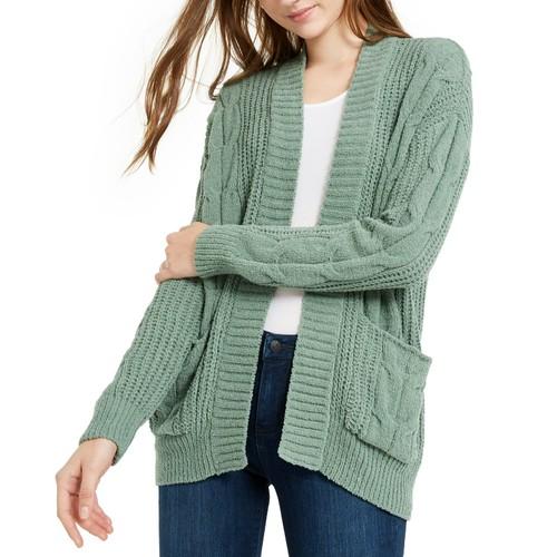 Ultra Flirt Juniors' Mixed-Knit Chenille Cardigan Green Size Medium