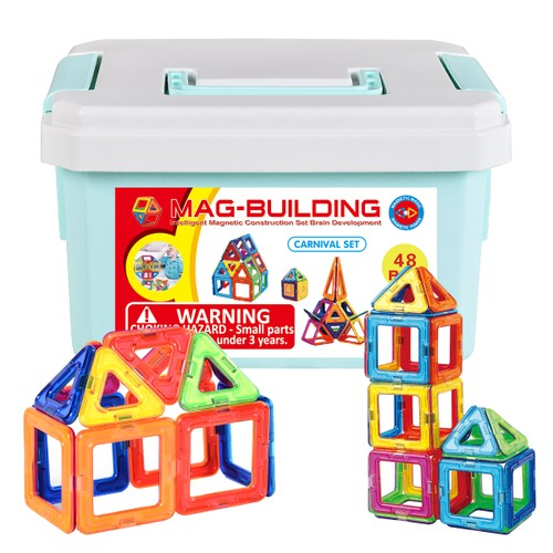 Zunammy Kids' Magnetic Building Blocks Tile Set (48 pcs)