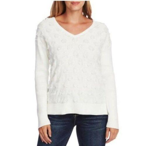 Vince Camuto Women's Floating Fringe Dot V Neck Sweater White Size X-Large
