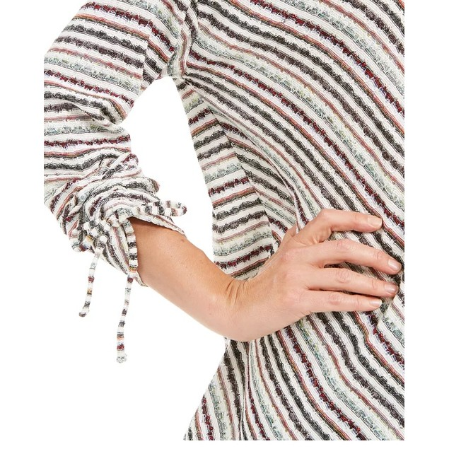 Style & Co Women's Asymmetrical Striped Tie-Sleeve Top Brown Size X-Large