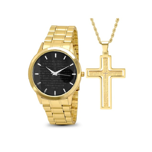 Gold Plated Pendant & Watch Set W/ Rotating Cross Pendant
