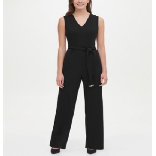 Tommy Hilfiger Women's Belted V-Neck Jumpsuit Black Size 8