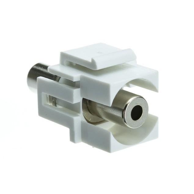 Keystone Insert, White, Recessed 3.5mm Stereo Female Coupler