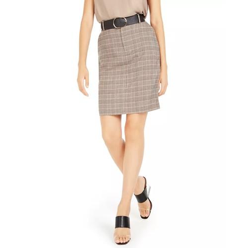 Bar III Women's Belted Plaid Skirt Beige khaki Size 6