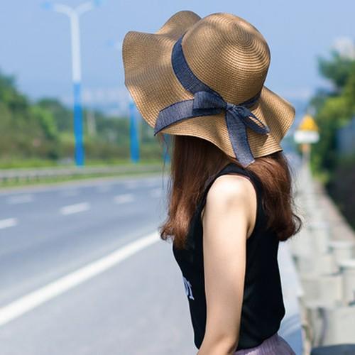 Ladies' Versatile Wave-edge Bow Sun Hat