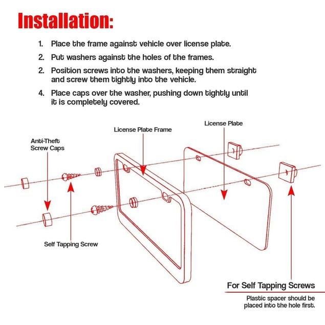 Zone Tech Slim Black Stainless Steel Metal License Plate Frame Screw Caps