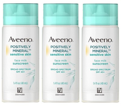 3-Pack Aveeno Positively Mineral Sensitive Skin Face Milk Sunscreen, SPF 40, 1.4 OZ Was: $29 Now: $19.99.
