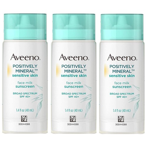 3-Pack Aveeno Positively Mineral Sensitive Skin Face Milk Sunscreen, SPF 40, 1.4 OZ